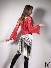 Load image into Gallery viewer, MOONFLOWER | Bell-sleeve crochet lace top in bright red | S/M