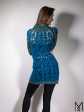 Load image into Gallery viewer, TEAL MOON | Dark turquoise wool tunic with turtle neck and long sleeves | S