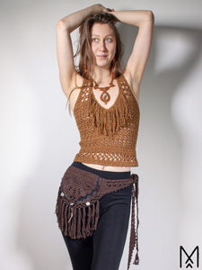 MEDINE POUCH | Dark brown leather crochet belt bag with fringes | One size