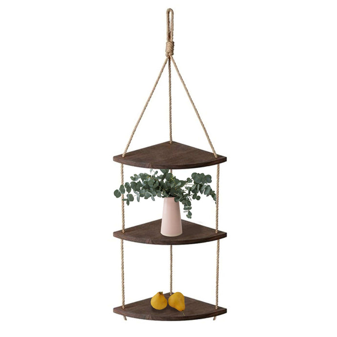 3-Tier Swing Rope Hanging Shelf