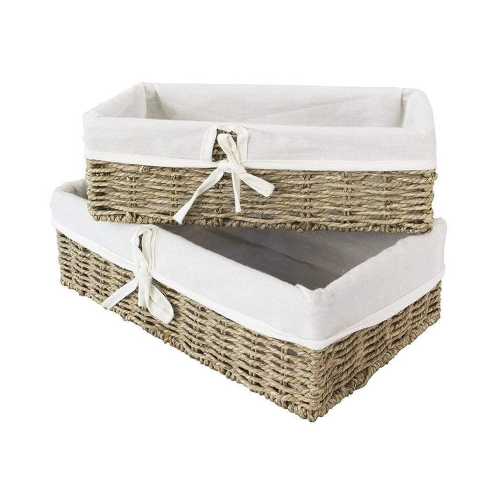 Natural Woven Seagrass Storage Basket Set