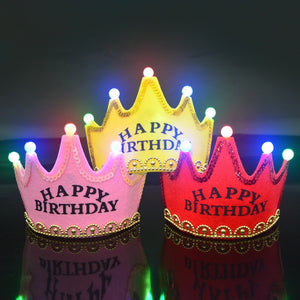 Kids Party Toys Happy Birthday Hat Led Flashing Crown
