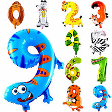 Load image into Gallery viewer, 6 Inches Animal Cartoon Number Foil Balloons
