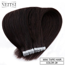 "Load image into Gallery viewer, Neitsi Mini Tape In Non-Remy Human Hair Adhesive Extension 12"" 16"" 20"" 10/20/40pcs 13 Colors Straight Skin Weft Natural Hair"