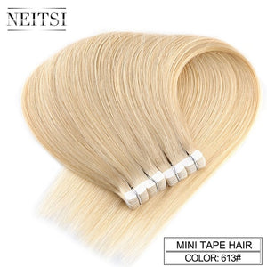"Neitsi Mini Tape In Non-Remy Human Hair Adhesive Extension 12"" 16"" 20"" 10/20/40pcs 13 Colors Straight Skin Weft Natural Hair"
