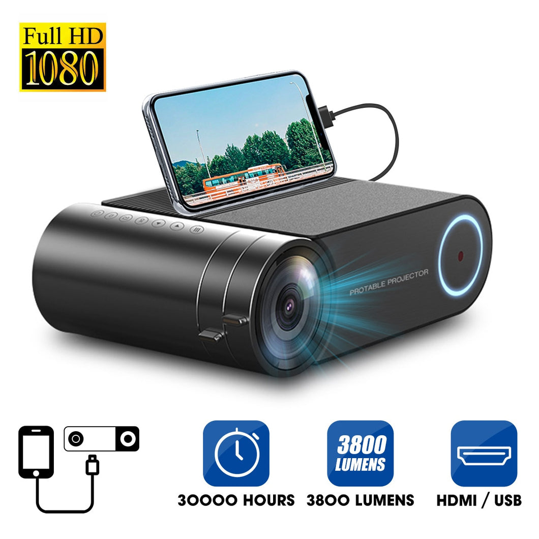 4K 3800 Lumes LED Projector Portable 1080P Full HD Projector  Colorful Multimedia  Theater HDMI VGA AV USB Outdoor Home