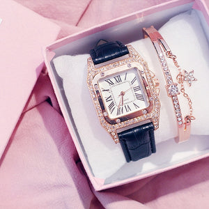 Women Diamond Watch Starry Square Dial Bracelet