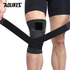 AOLIKES 1PCS 2020 Knee Support Gym Professional Protective Sports Knee Pad Breathable Bandage Knee Brace Basketball Tennis Cycling