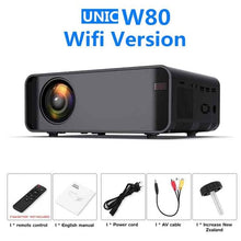 Load image into Gallery viewer, W80 Mini Projector with Android WiFi 3D LED Projector 2300Lumens TV Home Theater LCD Video USB VGA Support 3D HDMI VGA AV Beame