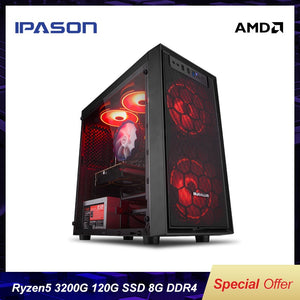 IPASON Mini Gaming PC AMD Ryzen R3 2200G Upgrade 3200G New Generation Ryzen Desktop Computer 8G DDR4 120G SSD Office Assembly PC