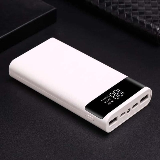 Portable Dual USB DIY Powerbank Case 6x18650 Battery LED Light Charging Digital Display Power Bank Shell Kit External Charger