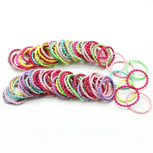 New 100PCS/Lot Girls Candy Colors Nylon 3CM Rubber Bands