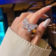 Load image into Gallery viewer, New design fashion jewelry opening high-grade copper inlaid zircon butterfly ring luxury shiny cocktail party ring for women