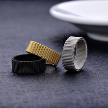 Load image into Gallery viewer, Wholesale low price stainless steel gold black color 8MM mesh finger ring fashion unisex jewelry 7-10# anel bague