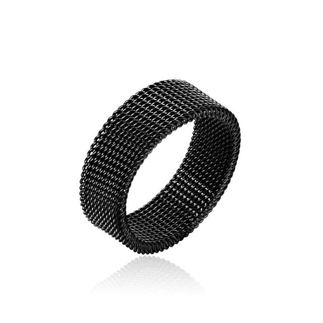 Wholesale low price stainless steel gold black color 8MM mesh finger ring fashion unisex jewelry 7-10# anel bague