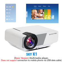 Load image into Gallery viewer, BYINTEK Mini Projector K1plus, Portable Home Theater Beamer,LED Proyector for Smartphone 1080P 3D 4K Cinema Stock in Brazil
