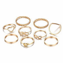 Load image into Gallery viewer, Original Design Gold Color Round Hollow Geometric Rings Set
