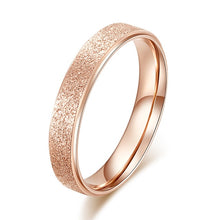 Load image into Gallery viewer, KNOCK High quality Fashion Simple Scrub Stainless Steel Women 's Rings 2 mm Width Rose Gold Color Finger  Gift For Girl Jewelry