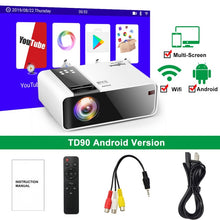 Load image into Gallery viewer, ThundeaL HD Mini Projector TD90 Native 1280 x 720P LED Android WiFi Projector Video Home Cinema 3D HDMI Movie Game Proyector