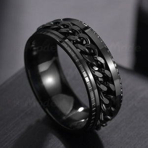 Letdiffery Cool Stainless Steel Rotatable Men Ring High Quality