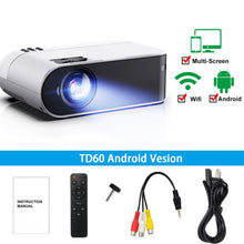Load image into Gallery viewer, ThundeaL TD60 Mini Projector Portable WiFi Android 6.0 Home Cinema for 1080P Video Proyector 2400 Lumens Phone Video 3D Beamer