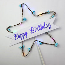 Load image into Gallery viewer, Glitter Star Happy Birthday Cake Topper