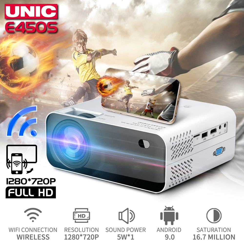 UNIC E450 HD Mini Projector Native 1280 x 720P Android WiFi Projector Video Home Cinema 3D HDMI Movie Game Proyector PK CP600
