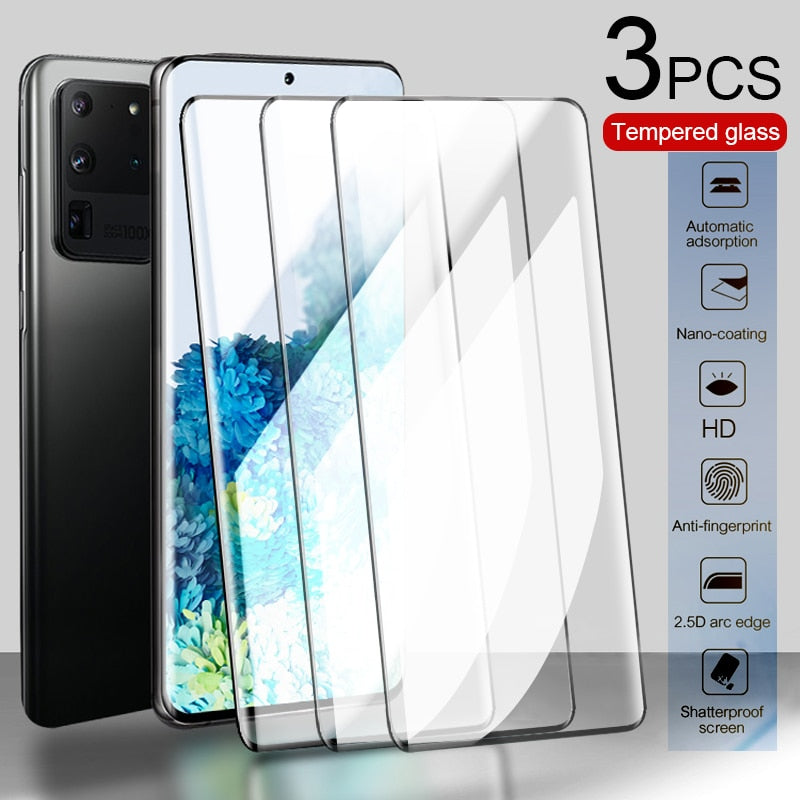 3PCS Curved Protective Tempered Glass For Samsung Galaxy A51 A50 S9 S8 Plus Screen Protector For S20 Ultra M21 A30 A20 A10 Glass