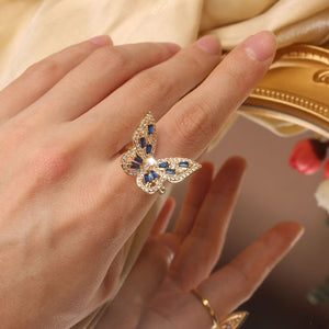 New design fashion jewelry opening high-grade copper inlaid zircon butterfly ring luxury shiny cocktail party ring for women
