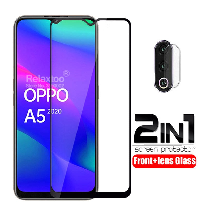2 in 1 Camera lens protective glass For oppo a5 2020 screen protector on For oppo a9 2020 a 5 9 tempered glass Full cover Film