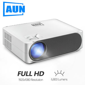 AUN Full HD Projector AKEY6/S, 1920*1080P,Upgrade 6800 lumens, Multimedia system AC3, LED Projector for 4K 3D Home Cinema.P
