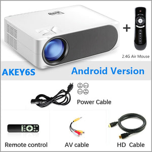AUN Full HD Projector AKEY6/S, 1920x1080P, Optional Android 6.0 WIFI, LED Beamer for 4K. EU / Russia warehouse fast delivery.