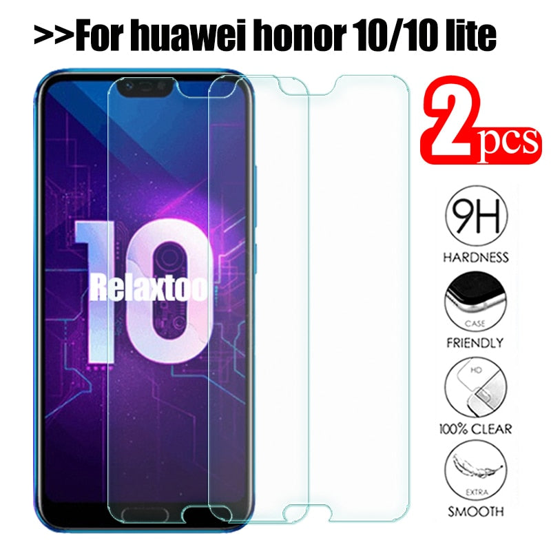 2pcs Tempered Glass For Huawei Honor 10 Protective Glass On honor 10 COL-L29 honor10 lite honer 10 5.84