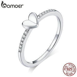 bamoer Genuine 925 Sterling Silver Clear CZ Folding Heart Finger Rings for Women Wedding Statement Jewelry 2020 Bijoux BSR121