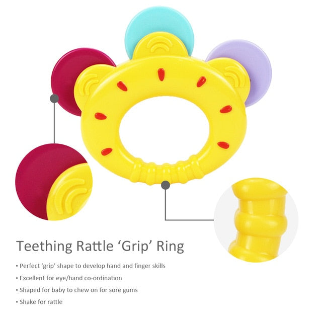 iPlay, iLearn Baby Rattles Teether, Shaker, Grab and Spin Rattle, Musical Toy Set, Early Educational Toys for 3, 6, 9, 12