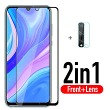 Load image into Gallery viewer, 2in1 protective glass for huawei y8p y5p y7p y6p y6s y9s 2020 camera protector tempered glas on y 8p 5p 6p 7p 6s 9s film
