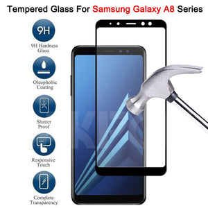 99D Protective Glass On the For Samsung Galaxy A6 A8 J4 J6 Plus 2018 A5 A7 A9 J2 J8 2018 Tempered Glass Screen Protector Film