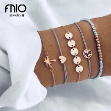 Load image into Gallery viewer, FNIO 5PCS/Set Heart Earth Map Charm Bracelets