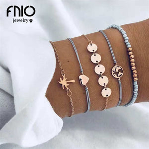 FNIO 5PCS/Set Heart Earth Map Charm Bracelets