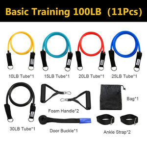 11pcs/set Pull Rope Fitness Exercises Resistance Bands Latex Tubes Pedal Excerciser Body Training Workout Yoga