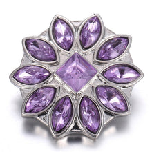 Load image into Gallery viewer, 6pcs/lot Mixed Purple Snap Jewelry 18mm Snap Buttons Jewelry Rhinestone Flower Metal Snaps