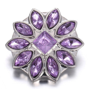 6pcs/lot Mixed Purple Snap Jewelry 18mm Snap Buttons Jewelry Rhinestone Flower Metal Snaps