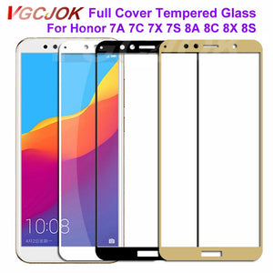9D Protective Glass on the For Huawei Honor 9 10 Lite 7A 7C Pro 7X 7S 8X 8A 8S Tempered Screen Protector Glass Safety Film Case