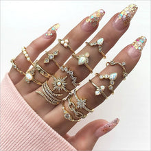 Load image into Gallery viewer, 17 Styles Vintage Gold Silver Color Star Moon Rings Set