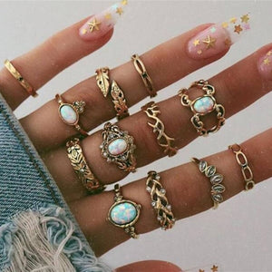 17 Styles Vintage Gold Silver Color Star Moon Rings Set