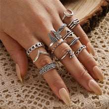 Load image into Gallery viewer, LETAPI Bohemia Simple Design Gold Silver Color Hollow Geometric Finger Ring Set