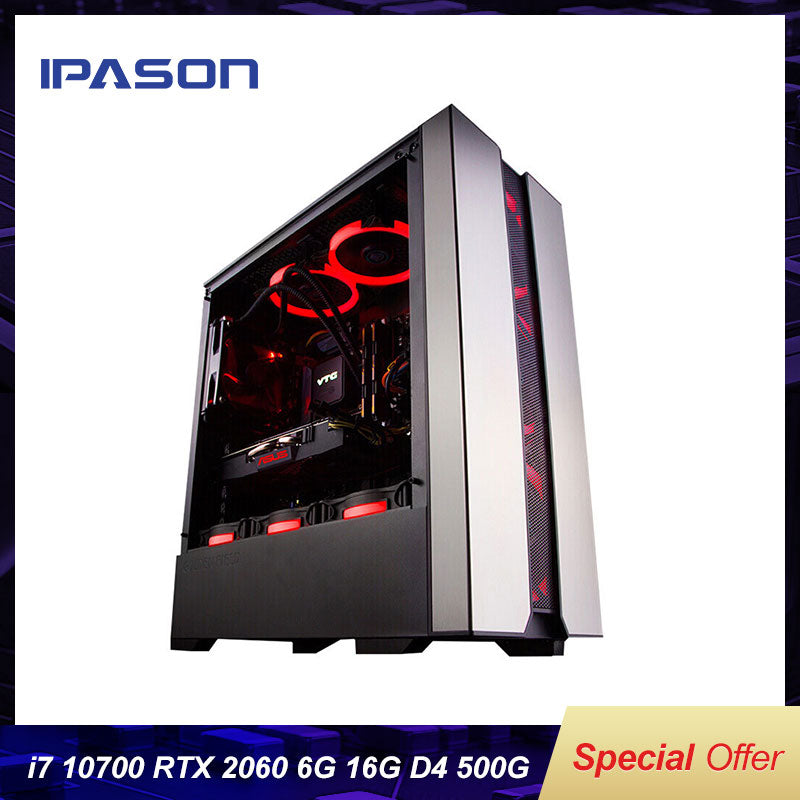 IPASON Explorer New Computer 10th Gen I7 10700 Rtx2060 6G Gaming Graphics Card 500G Nvme SSD 16G RAM High End Gaming Desktop PC
