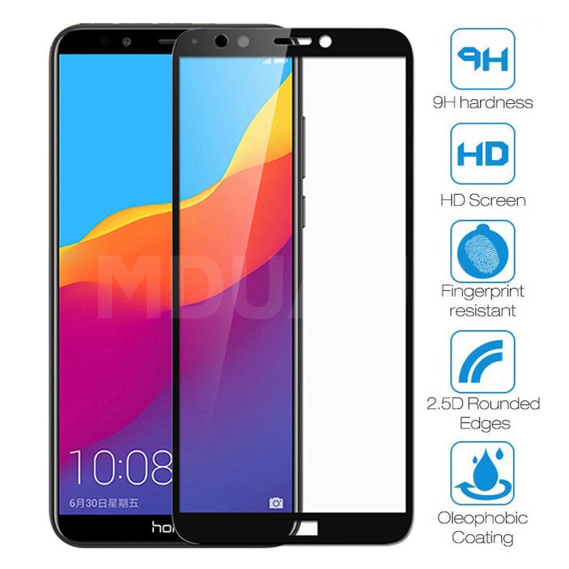 9D Protective Glass on the For Honor 7A 7C 7S 7X Tempered Screen Protector Glass Honor 8 Lite 9X 8X 8A 8C 8S Clear Glass Film