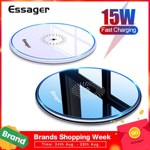 Essager 15W Qi Wireless Charger For iPhone 11 Pro Xs Max X Xr 8 Induction Fast Wireless Charging Pad For Samsung S20 Xiaomi mi 9