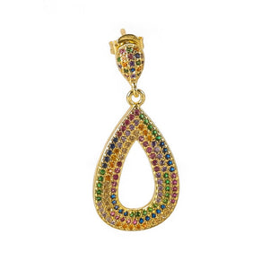 1 pcs INS New rainbow zircon earrings for women